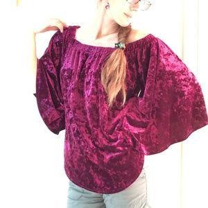 Karen Kane Tops - Velvet Deep Wine Red Renaissance Blouse
